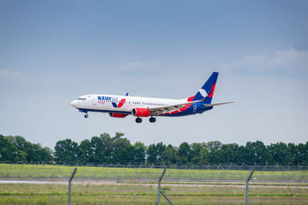 Boryspil, Ukraine - August 3, 2019: Azur Air Ukraine Boeing 737 is langing in the airport