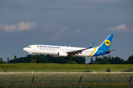 Boryspil, Ukraine - August 3, 2019: Ukraine International Airlines Boeing 737 is langing in the airport Sajtókép