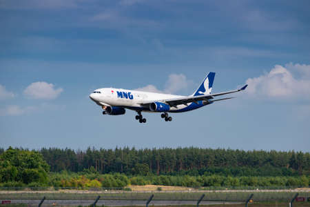 Boryspil, Ukraine - August 3, 2019: MNG Gargo Airlines Airbus A330 is langing in the airport