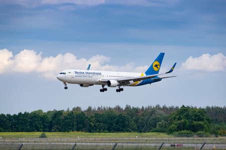 Boryspil, Ukraine - August 3, 2019: Ukraine International Airlines Boeing 767 is langing in the airport Sajtókép