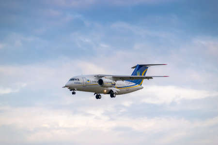 Boryspil, Ukraine - August 3, 2019: Ukraine Government Antonov An-148 is langing in the airport