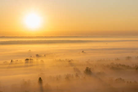 Sunrise in the valley with heavy fog on the ground