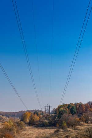 Power lines on a sunny autumn day