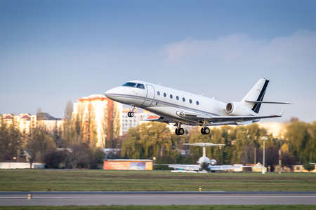 Busines jet is taking off from the airport