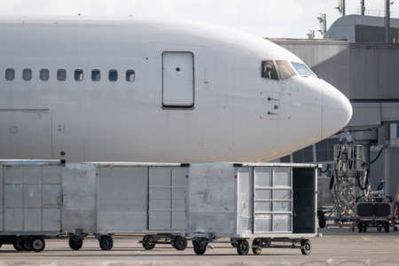 Cargo containers with luggage near the plane on apron