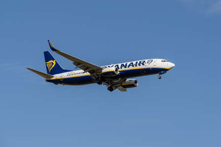 Boryspil, Ukraine - September 25, 2020: Ryanair Boeing 737-800 is landing in the airport Editorial