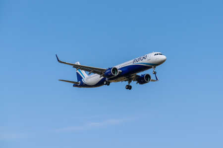 Boryspil, Ukraine - September 25, 2020: IndiGo Airbus A321neo is landing in the airport Editorial