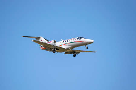 Boryspil, Ukraine - September 25, 2020: Turkey Ministry of Health Cessna 525A CitationJet CJ2 is landing in the airport Editorial