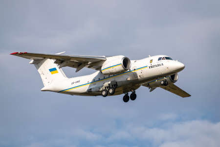Boryspil, Ukraine - September 25, 2020: Ukraine Government Antonov An-74TK-300D is landing in the airport Editorial