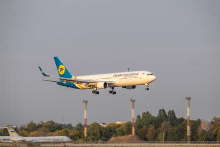 Boryspil, Ukraine - September 25, 2020: Ukraine International Airlines Boeing 767-300ER is landing in the airport
