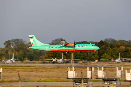 Boryspil, Ukraine - September 25, 2020: WindRose ATR-72-600 is landing in the airport