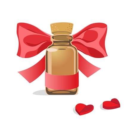 Glass bottle with red bow and pills in the form of heart