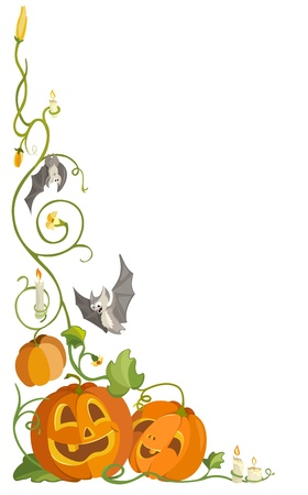 funny pumpkins, bats and candles in the leaves and stems  Illustration for Halloween Illustration