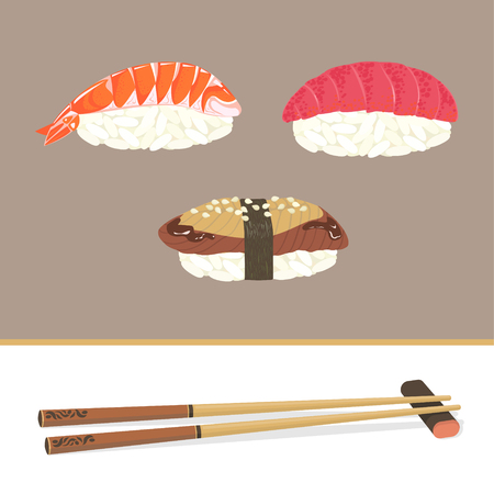 Set of detailed sushi with shrimp, tuna, eel and chopsticks on a neutral background