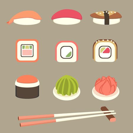 eel: Set of sushi, rolls, with chopsticks, wasabi and ginger. Simple flat elements