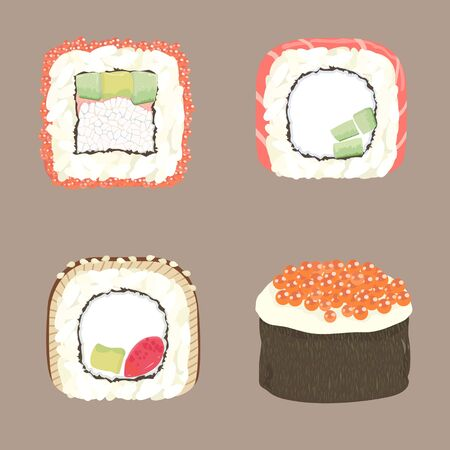 Set of detailed sushi on a neutral background
