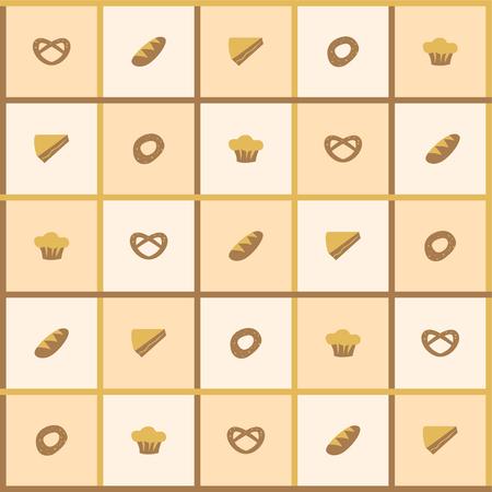 Checkered beige background of bread, bagel, pie, muffin, pretzel
