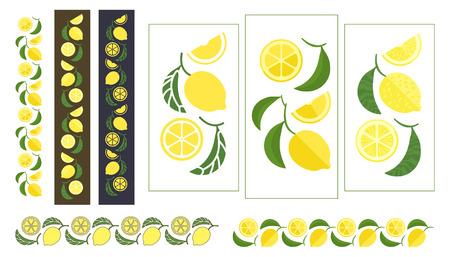 Lemon tree branch. Set of colored design elements