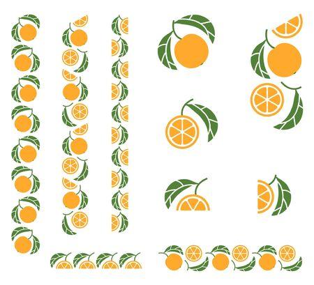 Orange fragmented tree branch. Set of colored design elements