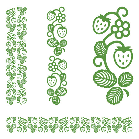Strawberry berries, flowers and leaves. Elegant monochrome ornament