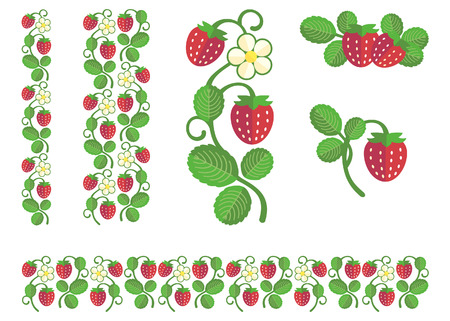 Strawberry colored stem with berries, flower and leaves. Flat colors set of design elements Illustration