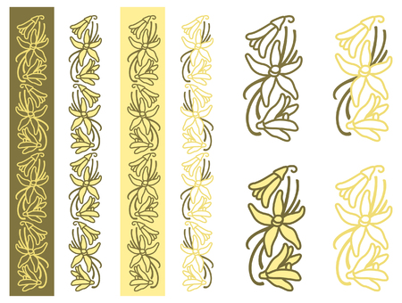 Dried vanilla fruits and flower. Monochrome and two-color plant simple ornament