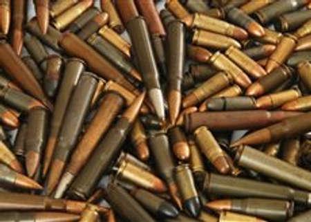 Een grote stapel verschillende pistool kogels Stockfoto