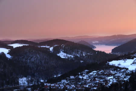 Horseshoe bend of the river Vltava in the Czech republic - winter photo