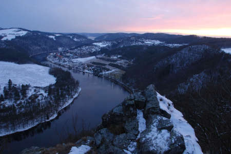Horseshoe bend of the river Vltava in the Czech republic - winter photo