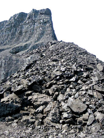 Brown coal mine on the white - isolated without the sky Stock Photo