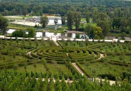 Park maze from hedge in Troja in Prague