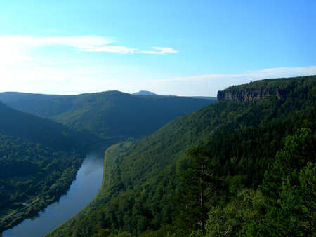 vltava:           River Vltava in horshoe band and mountains with forests