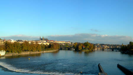 panoramatic: Panoramatic photo of the city of Prague with a view at Vltava River and Castle Stock Photo