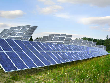 solarpower: Field of sollar collectors - ecology for alternative power Stock Photo