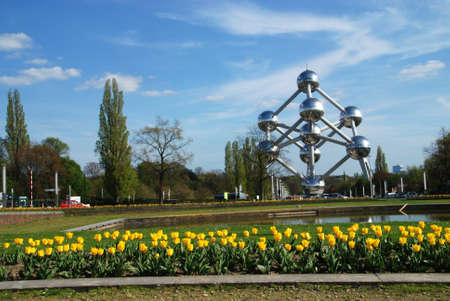 A picture of the 1958 world expo atomium in brussels belgium Editorial