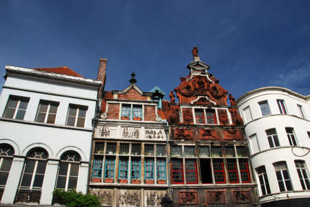gabled house: Beautiful gabled houses along a canal in Gent, Belgium.