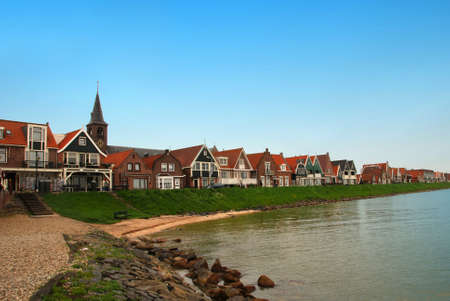 volendam: Traditional houses near the sea in a Dutch town Volendam
