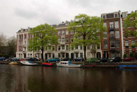 gabled house: Amsterdam, Canal and traditional houses. Holland.