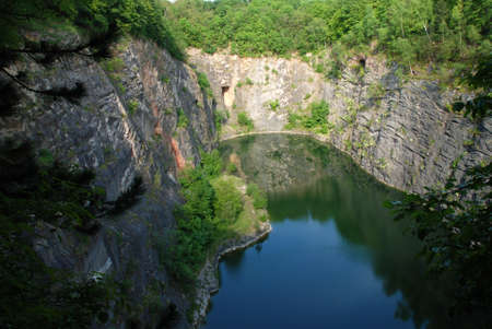 Beautiful old flooded quarry called Small America in the Czech Republic Reklamní fotografie