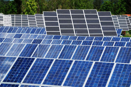 module: Photovoltaic panel background should be a way to ecologicval energy Stock Photo