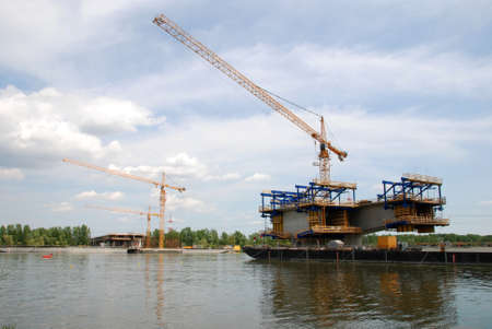 Construction of a large bridge across the river Danube Stock Photo - 17721444
