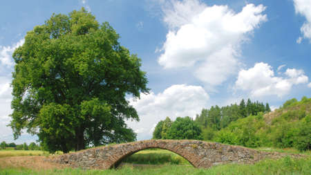 Old bridge in the spring Stock Photo