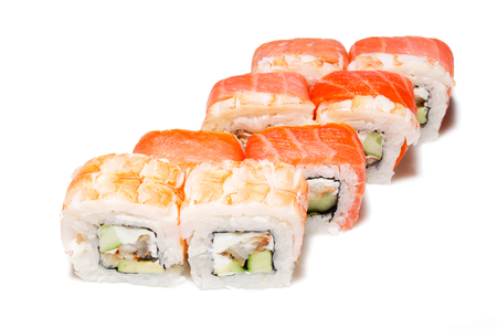 Japanese sushi , roll on a white background