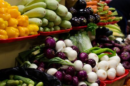 big choice of fresh vegetables on market counter