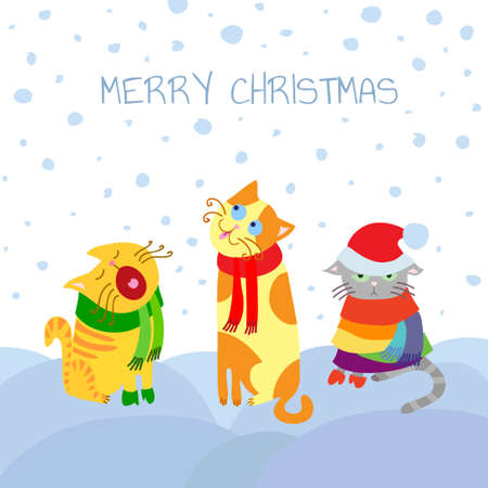 Christmas Card with Cats in Snow Vector