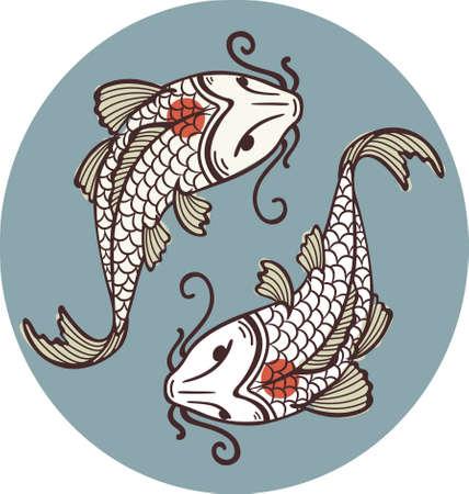 swimming carp: Koi Carps Tancho - Yin Yan Symbol Illustration