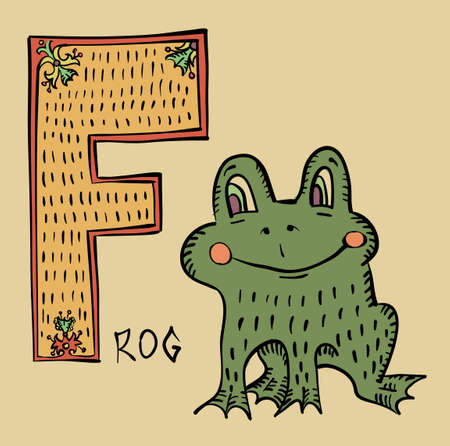 F for Frog, Folk Russian Lubok Style Alphabet Letter Vector