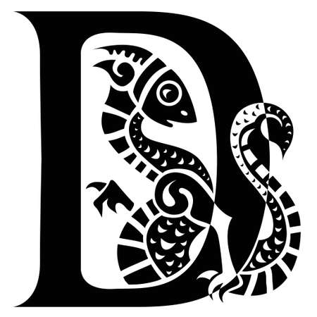 gargoyle capital letter D Stock Vector - 19425343