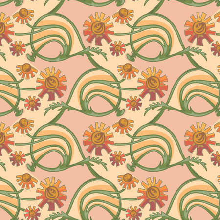 Floral seamless texture in art-nouveau style, camomile, calendula Vector