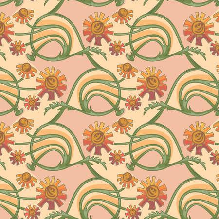 calendula: Floral seamless texture in art-nouveau style, camomile, calendula Illustration